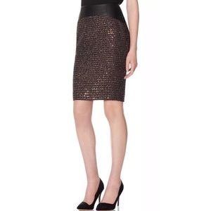 Faux Leather Tweed Sequin Skirt